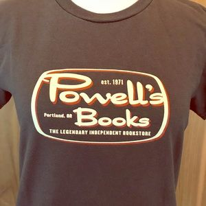POWELL'S BOOKS t-shirt in dark taupe/brown